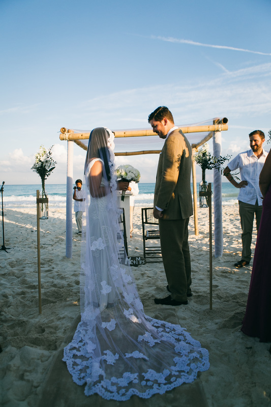 Mantilla Veil Mexican Filipino Wedding Bride on the Beach