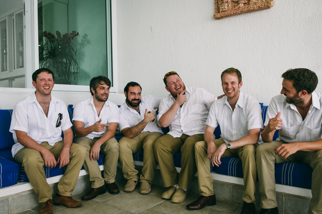 Mexican Filipino Wedding Groomsmen wearing beige trousers and white guayabera shirt